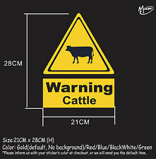 Cattle warning sign stickers reflective countryside farm animal decal best gifts