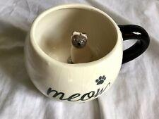 WORLD MARKET Surprise MEOW Cat Inside Mug Coffee Mug Tan Ceramic Jumbo 17 Oz EUC