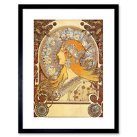Mucha Zodiac 1896 Old Master Painting Repro Framed Art Print 9x7 Inch