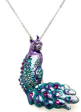 KIRKS FOLLY PEACOCK CAT BIRD PIN / PENDANT / NECKLACE silvertone purple