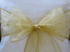 100 Gold Organza Sashes Chair Cover Bows Wedding Sashes