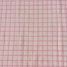 Cotton Blend Brushed Twill Fabric Pink Cream Check Craft Sewing NOS