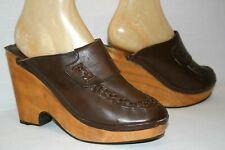 9 Vtg 1970s Latin Connection Clogs Brown Leather Platform Heel Shoe Sandal 70s