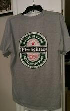 Size L HEINEKEN United We Stand Firefighter T-shirt Brewed with Pride FIREMAN