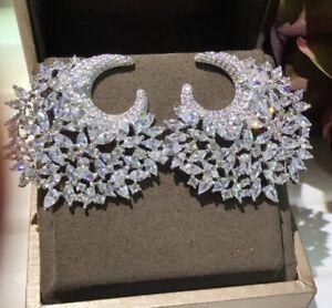 18k White Gold GF Cuff Earrings made w Swarovski Diamond Marquise Stone Gorgeous