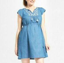 Isabel Maternity Womens Dress XS Chambray Blue Embroidered Denim Short Sleeve