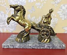 BRASS & MARBLE ORNAMENT ROMAN / GREEK WARRIOR WITH HORSES VINTAGE DESK ORNAMENT