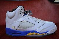 """Clean Nike Air Jordan 5 Retro GS """"Laney"""" Blue Yellow White 440888 189 Size 5"""