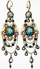Michal Negrin Vintage Style Silhouette Cameo Crystals Beads Chandelier Earrings