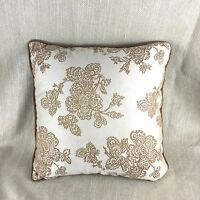 Damask Cushion Cover Pillow Velvet Trim Brown Gold Beige Luxury Hotel