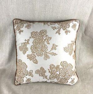 Damask Cushion Cover Pillow Velvet Trim Brown Gold Beige Luxury Hotel