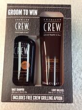American Crew groom to win Daily shampoo Light Hold gel 8.4 oz Plus Apron Kit