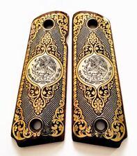COLT 1911 custom engraved wood grips gold silver Mexican Flag Eagle Aquila logo