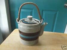 Retro Brown and Blue Striped Pottery Tea Pot with Wicker Handle