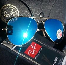 NEW  RAY BAN AVIATOR RB3025 112/4L 58mm POLARIZED BLUE MIRROR.
