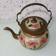 Vintage Brass Hand Decorated Teapot 24oz HAND PAINTED ENAMEL FLOWERS