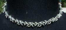 "Mint 15"" Custom Leaved Elaborate Longcraft Silver Tone Costume Jewelry Necklace"