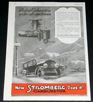 1919 OLD MAGAZINE PRINT AD, STROMBERG CARBURETORS, WINTER ART!