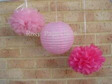 10x pink paper pom poms lanterns Girl 1st birthday party baby shower decoration