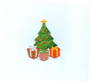 100% EMBROIDERY IRON ON CHRISTMAS TREE PATCH GIFT DECORATION MOTIF SEW CRAFT :)
