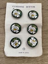 Lot Of 6 Vintage Asian Japanese Cloisonné Enamel Flower Buttons