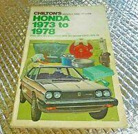 Vintage Chilton Repair & Tune-up Guide Manual Honda 1973 to 78 Civic Accord