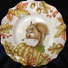 """PIER 1 PORCELAIN MAZEY THE SQUIRREL SALAD PLATE 8 5/8"""" ACORNS FALL LEAVES"""