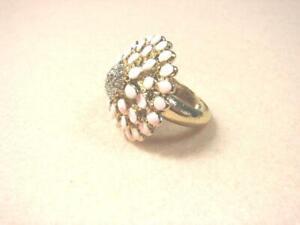 New Betsey Johnson Pink Abloom Flower Crystal Pristil Gold Tone Band Ring Size 6