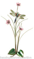 WALL ART - DRAGONFLY AND PINK FLOWERS METAL WALL SCULPTURE - WALL DECOR