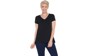 H by Halston Essentials V-Neck Top with Forward Notch Detail Black M A306231 QVC