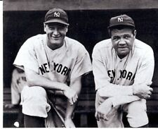 NEW YORK YANKEES ICONS LOU GEHRIG BABE RUTH ON STEPS BEFORE GAME CLASSIC B/W