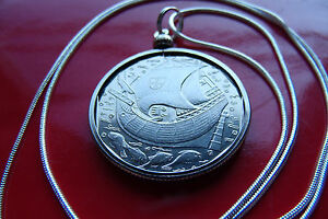 """Portuguese Caribbean Galleon Ship Coin on a 18"""" 925 Sterling Silver Round Chain"""