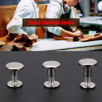 20 Set Brass Flat Head Solid Stud Screwback Screw Rivet Silver Leather Craft DIY