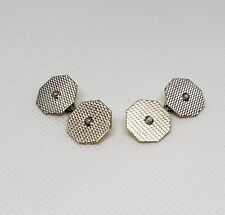 ART DECO 18k Yellow Gold & Platinum Textured Seed Pearl Cufflinks Antique
