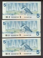 3 CONSECUTIVE CANADA 1986 $5 CROW BOUEY BANKNOTES SERIAL EOG9007103,4,5 GEM UNC