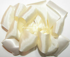 Fancy Ivory 100% Silk Satin Hair Bow Girls Baby Pageant Wedding Accessories Clip