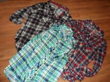 large ~ lot of 3 plaid button up front shirts ~ long 3/4 sleeve & sleeveless