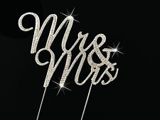 Fancy MR & MRS WEDDING Diamante Rhinestone Gem Cake Topper Silver UK