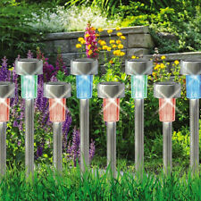 10x Stainless Steel LED Solar Powered Lawn Light Colorful Path Lamp Garden Decor