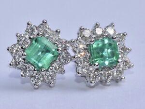 Emerald and Diamond Earrings 14k