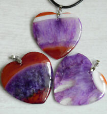 Choice of Large Crackle Agate Heart Pendant Necklace Reiki Heaing Ladies Gift