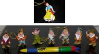 Set 8 Figures Snow And 7 Dwarfs Doc Disney Snow White 7 Dwarfes Strap Danglers