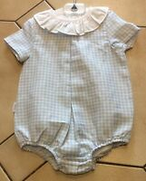 Traditional Spanish Frill Collar Blue Gingham Romper  3M-24M 100% cotton- Babidu