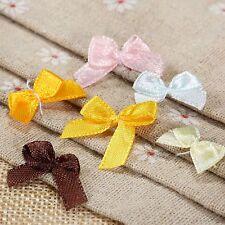 100 x Satin Ribbon Bows Mini Flowers Wedding Decoration Gift Craft DIY Mix Color