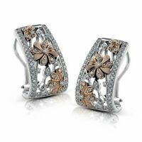 Two Tone Stud Earrings for Women 925 Silver Jewelry White Sapphire A Pair/set