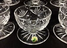 8 Waterford Crystal ASHLING Footed Grapefruit Dessert Bowls Glass Dishes Ireland