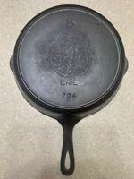 Vintage Griswold #8 Cast Iron Skillet 704 D Heat Ring Restored w/ Crack