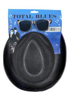 TOTAL BLUES BROTHERS HAT & GLASSES SET SUNGLASSES COSTUME FANCY DRESS PARTY QR59