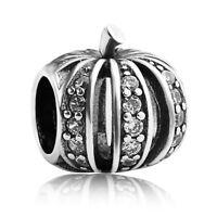 S925 sterling silver Halloween pumpkin Clear CZ European Charm bead fit bracelet