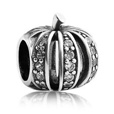 S925 sterling silver Halloween pumpkin Clear CZ European Charm bead fit bracelet